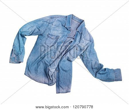 Blue Jean Male Shirt Isolated On White