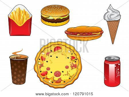 Fast food snacks, soda can and ice cream