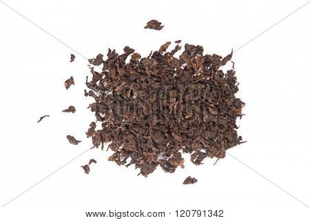 Roasted Tieguanyin, variety of Oolong tea, top view isolated on white background