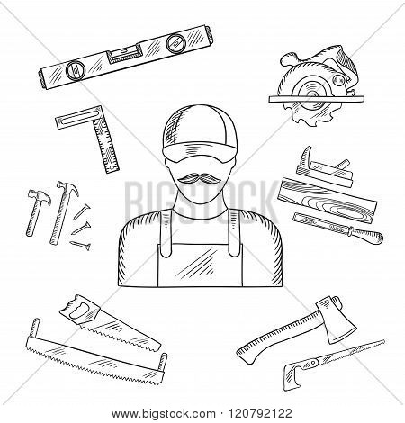 Carpenter and toolbox tools sketches