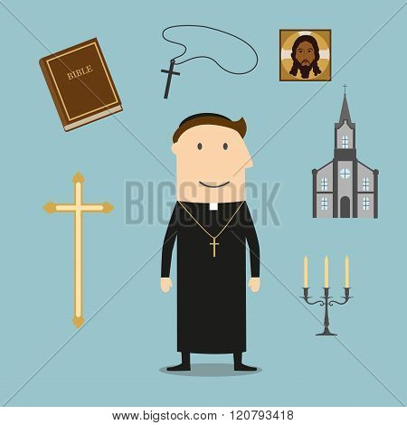 Priest and religious icons or symbols