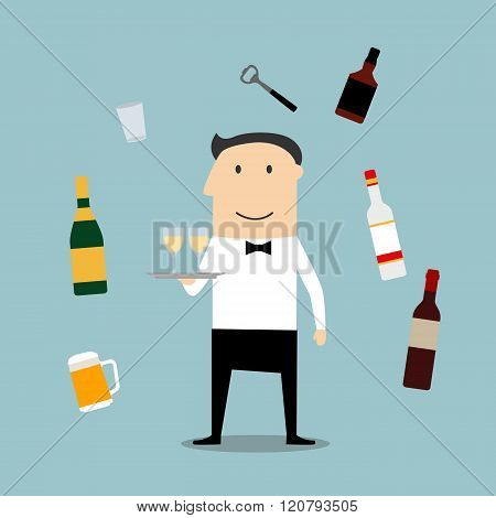 Restaurant waiter profession and drinks icons