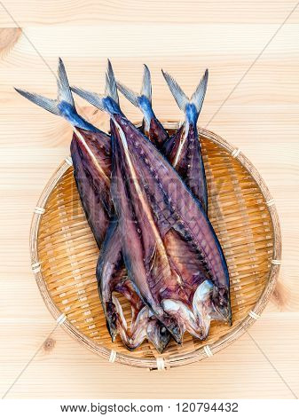 Prepare Cooking Traditional Asian Food Preserved Salted Fish On Wooden Cutting Board.