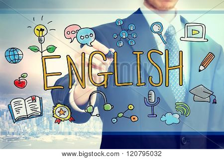 Businessman Drawing English Concept