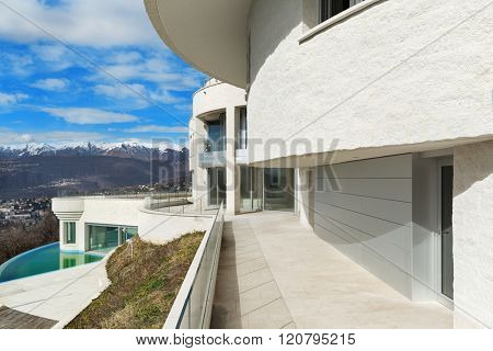 Architecture, penthouse with pool, view from the balcony