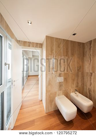 marble bathroom of a new house, toilet and bidet modern design