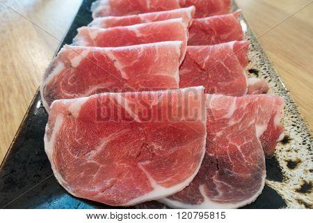 Black Berkshire Pork meat on ceramic plate