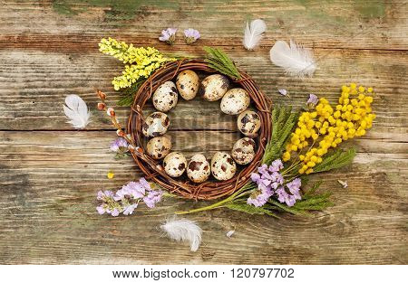 Easter wreath and flowers