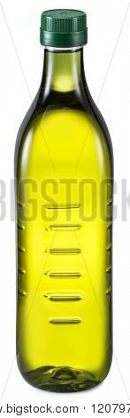 Bottle of extra virgin olive oil on a white background. File contains clipping paths.