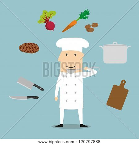 Chef profession, utensil and vegetables