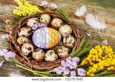 Easter still life with flowers and eggs