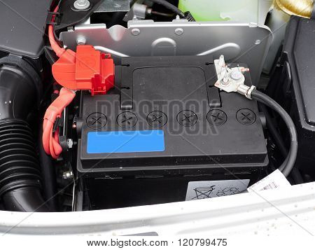 Car With Open Hood.battery.