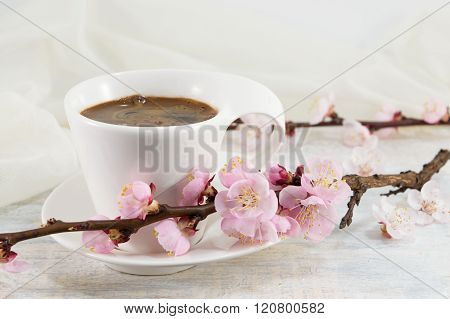 Cup Of Coffee With Cherry Blossom Flowers