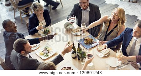 Business People Party Cheers Enjoying Food Concept