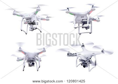 Set of images white little drone