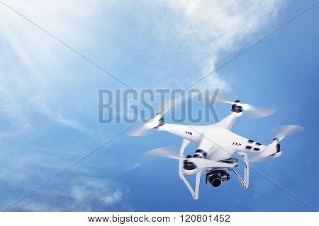 Small White Drone Hover