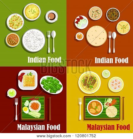 Malaysian and indian cuisine dishes