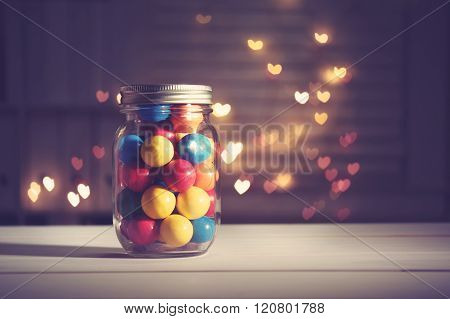 Colorful Candies In A Jar