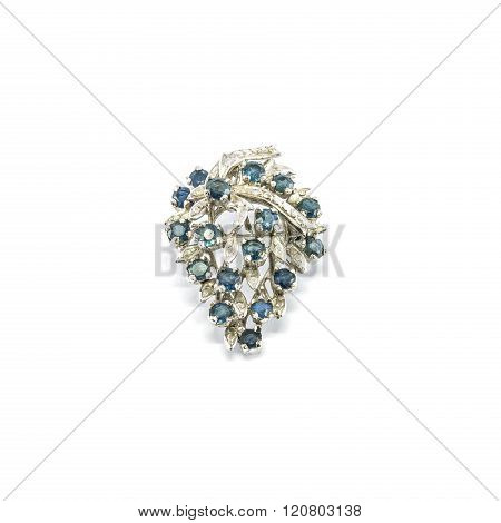 Closeup Old Pebble Broach Shirt For Woman Isolated On White Background