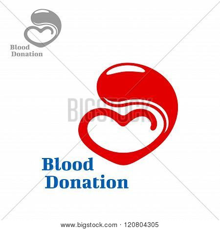 Drop of blood flowing into a heart