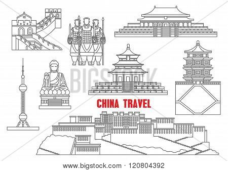 China landmarks thin line icons