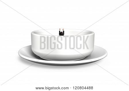 Man Hanging On Edge Of Empty Soup Bowl