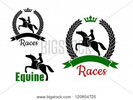 Equestrian sport symbols with horses and riders