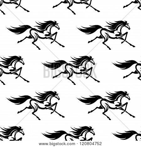 Black and white horses seamless pattern