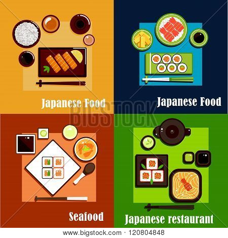 Japanese national seafood cuisine dishes