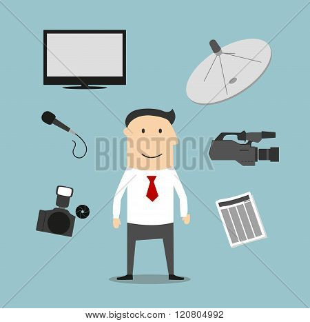 Reporter profession and broadcasting devices