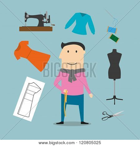Tailor with sewing tools icons