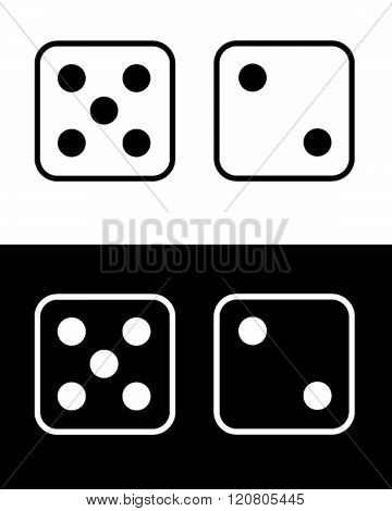 Vector Lucky Number Seven Dice Set in Black and Reverse