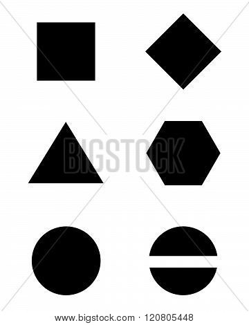 A collection of basic vector shapes in black and white