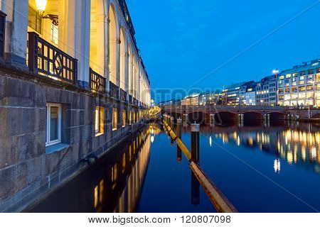 The Alsterfleet in Hamburg at night