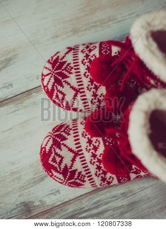 Warm Christmas style home shoe, colored image
