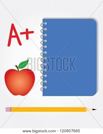 Vector school set. Includes pencil, notebook, apple and A+ grade symbol