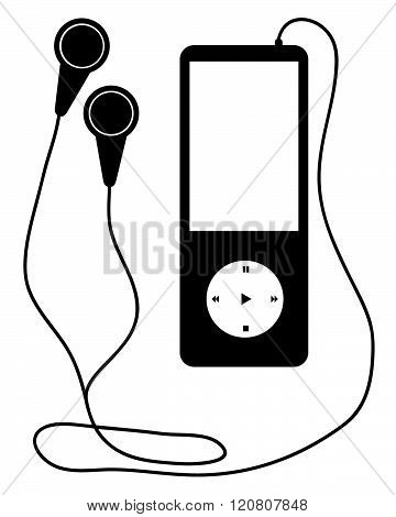 Vector MP3 Music Player with Earphones in Black and White