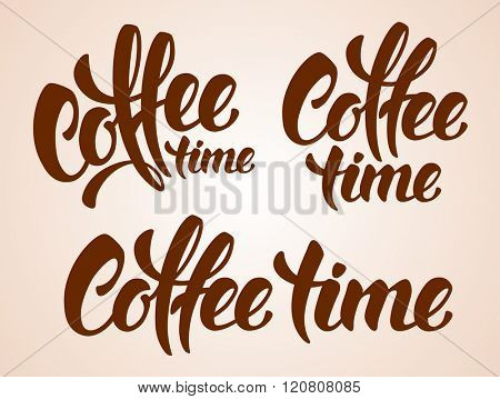 Set of Calligraphy Lettering Inscriptions Coffee Time. Coffee Time Concept. Vector Illustration.