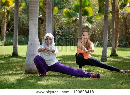 Young Women Wooking Out In Outdoor