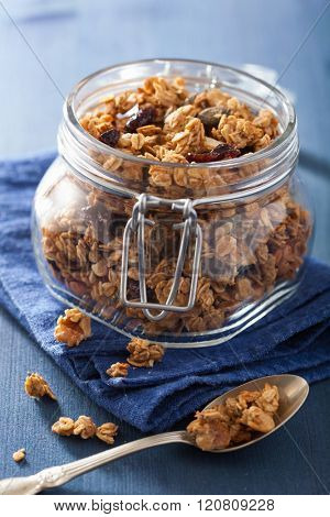 homemade healthy granola in glass jar