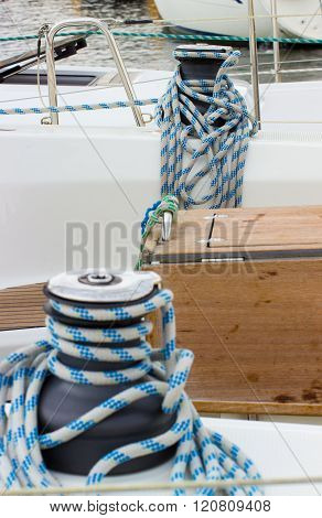 Yachting, Coiled Rope On Sailboat, Details Of Yacht
