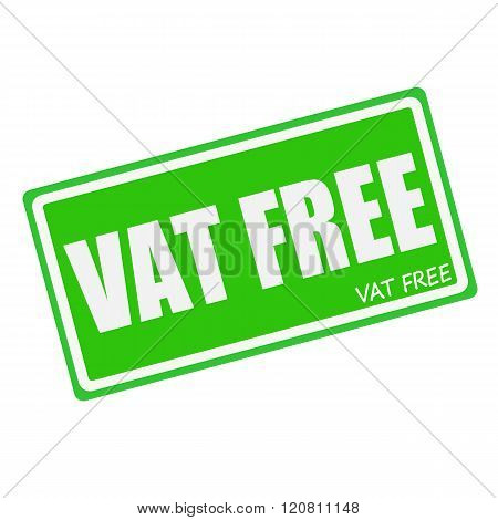 VAT FREE white stamp text on green