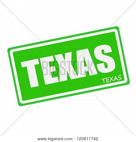 an images of TEXAS white stamp text on green
