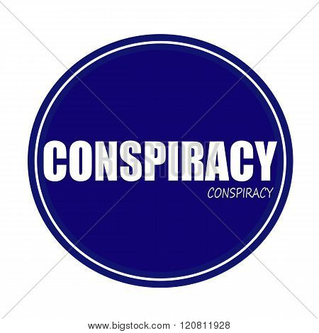 an images of CONSPIRACY white stamp text on blue