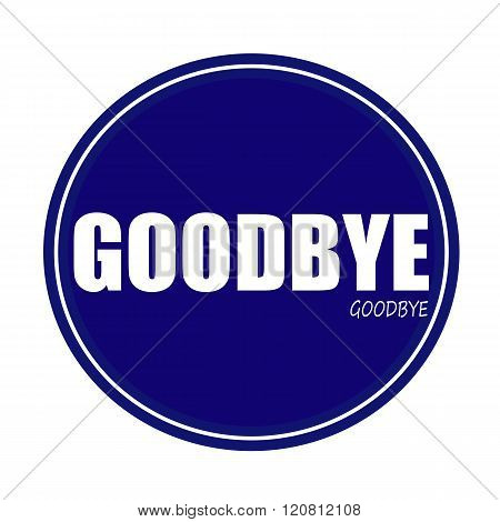 an images of GOODBYE white stamp text on blue