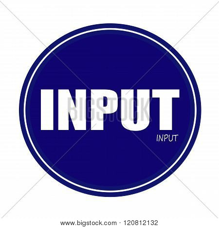 an images of INPUT white stamp text on blue