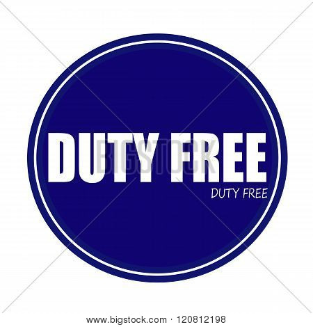DUTY FREE white stamp text on blue