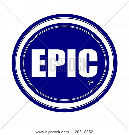 an images of EPIC white stamp text on blue