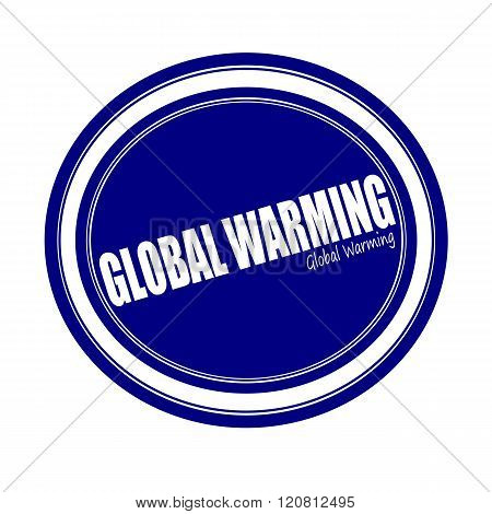 GLOBAL WARMING white stamp text on blue