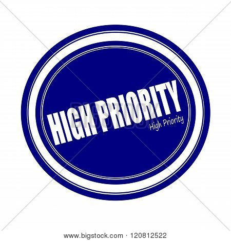 HIGH PRIORITY white stamp text on blue